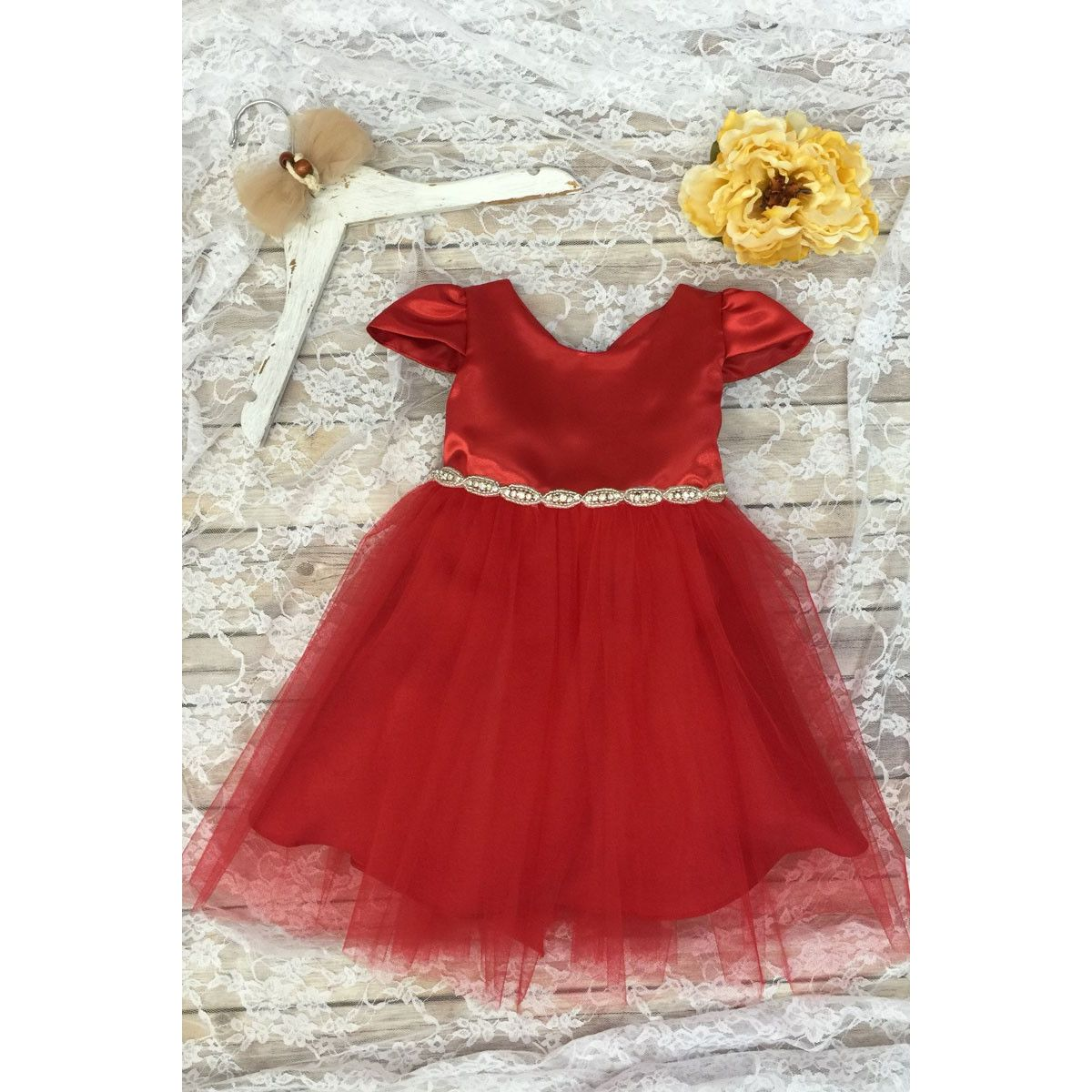 Holiday Christmas dress by Petite Adele red satin dress with red ...