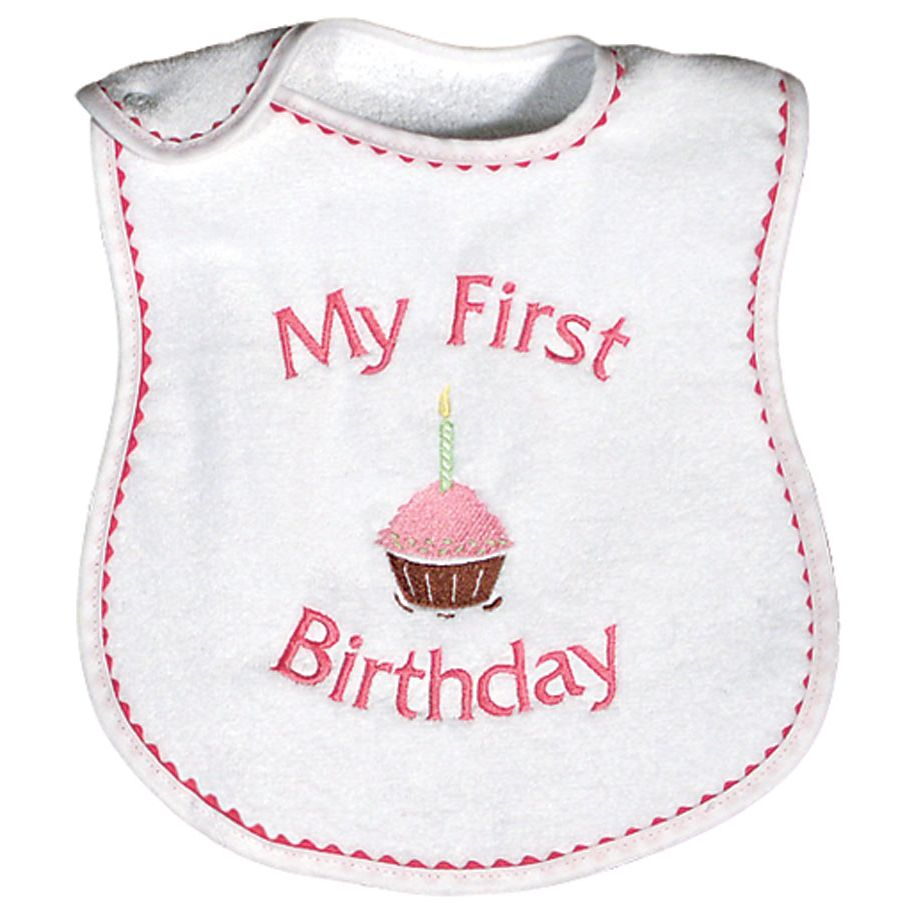 Girls My First Birthday Bib Strawberry Color Raindrops Baby